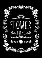 Flower Frame Hand Drawn Black and White