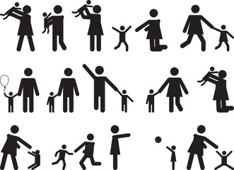 Pictogram people with kids illustrated on white