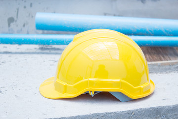 Yellow Safety Helmet At Construction Site
