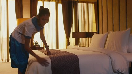 1of5 Asian housemaid cleaning hotel room, girl, staff working