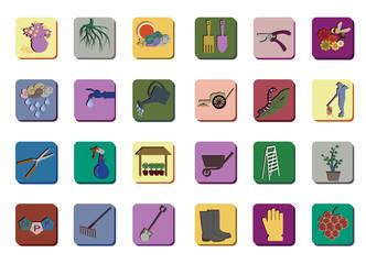 Icon set for gardening