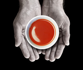 soup in hands