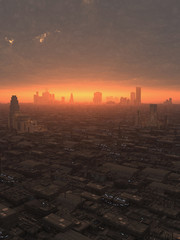 Future City at Sunset