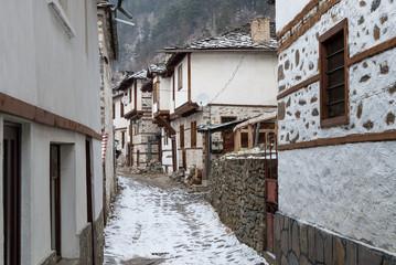 The traditional village of Shiroka Laka in Bulgaria in winter