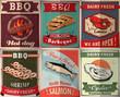 Vintage BBQ poster design set