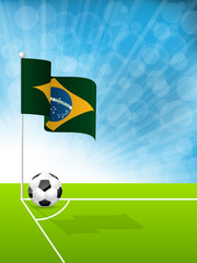 Soccer ball and Brazil flag