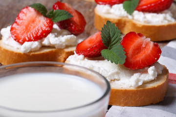 Sandwiches with soft cheese, strawberries and a glass of milk