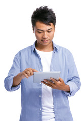 Man with touch tablet