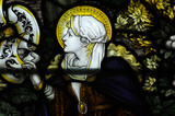 Mary Magdalene in stained glass poster