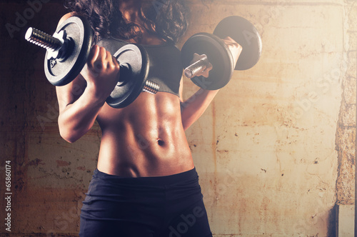 canvas print picture Strong body woman workout