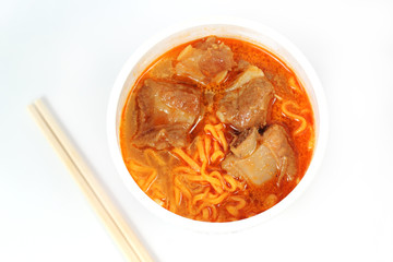 Instant noodle Spicy rib pork with chopstick