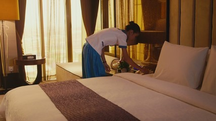 2of5 Asian housemaid cleaning hotel room, woman, people working