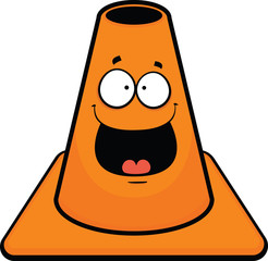 Traffic Cone Cartoon Happy