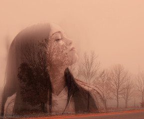 Double exposure portrait of beautiful women