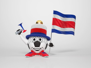 Soccer character fan supporting Costa Rica