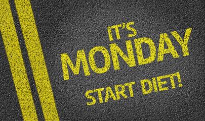 it's Monday Start Diet! written on the road