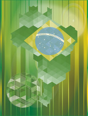 Background sOCCER  fotball with the flag, MAP  of Brazil