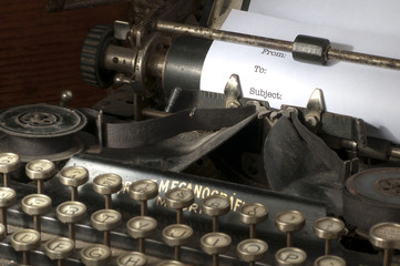 e-mail header in antique typewriter