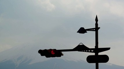 Traffic Lights with the Fuji mountain background