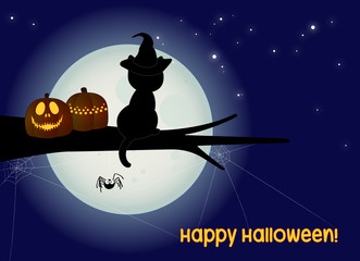 halloween card with black cat, spider, scary jack and full moon