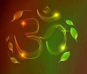 Abstract colorful OM sign over dark background