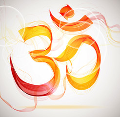 Abstract colorful OM sign