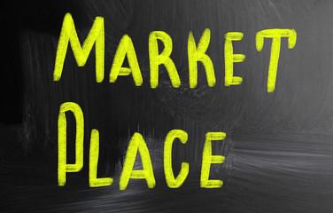 marketplace handwritten with chalk on a blackboard