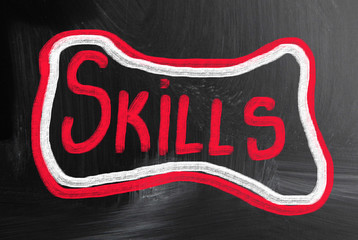 skills handwritten with chalk on a blackboard