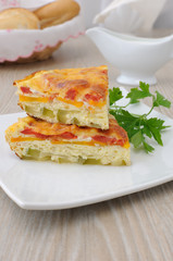 Omelet with vegetables and cheese crust
