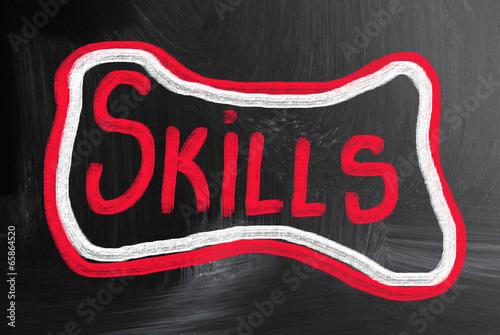 skills handwritten with chalk on a blackboard