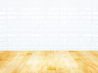 White brick tile wall and wood parquet floor