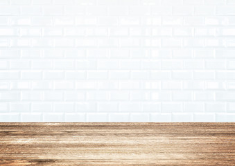 White brick tile wall and wood plank floor
