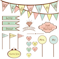 cute vintage wedding set elements