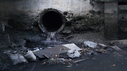 Waste pipe or drainage polluting environment