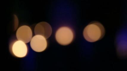 Golden, blur, bokeh lights dark background, VDO HD