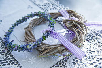 Rustic lavender wreath in lila