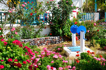 The decoration of hotel in traditional Greek style, Santorini is