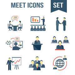 Meet business partners icons set
