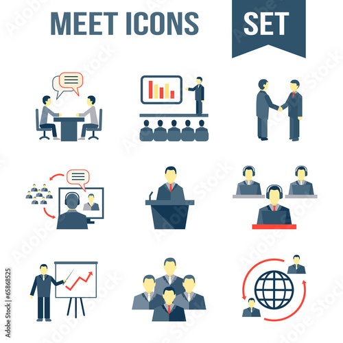 Meet business partners icons set