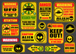 Warning UFO Aliens Signs Collection - 65868785