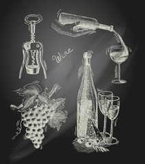 Wine chalkboard decorative set