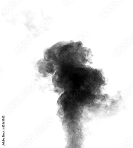 Fotobehang Rook Black steam looking like smoke on white background