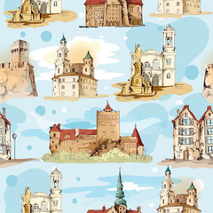 Old city sketch seamless pattern