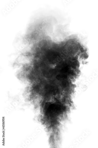 Foto Spatwand Rook Black steam looking like smoke on white background