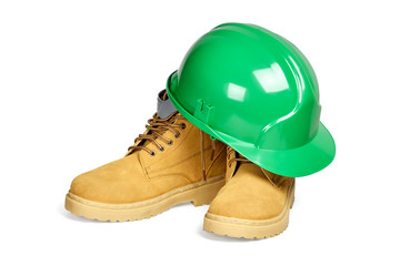 Protection helmet and boots isolated with clipping path.