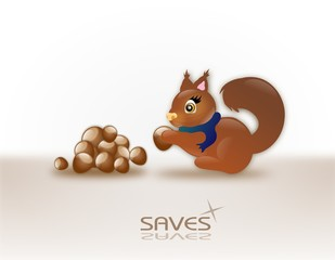 Squirrel with her savings
