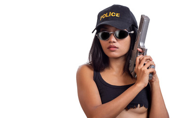 Police detective woman with a gun