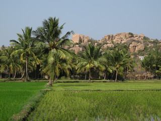 Idyllic landscape in Hampi, India