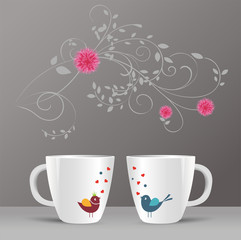 pattern of birds and spring flowers in a cup
