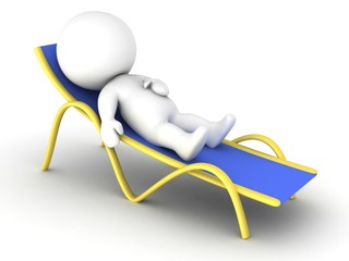 3D character relaxing in beach chair